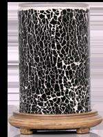 Sage Crackle Simmering Light with Wood Grain Base
