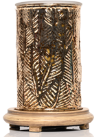 Gold Leaves Simmering Light with Wood Grain Base