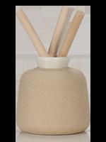 Beige Textured Vase with Reeds