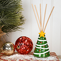 Christmas Tree Vase with Reeds