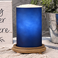 Blue Simmering Light with Wood Grain Base