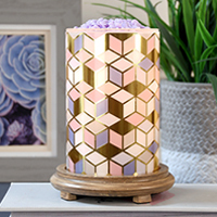 Colorful Diamond Simmering Light with Wood Grain Base