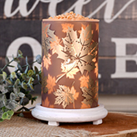 Falling Leaves Simmering Light with Antique White Base