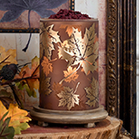 Falling Leaves Simmering Light with Wood Grain Base