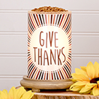 Give Thanks Simmering Light with Wood Grain Base