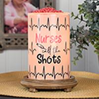 Nurses Call the Shots Simmering Light with Wood Grain Base