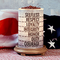 Respect and Honor Simmering Light with Wood Grain Base