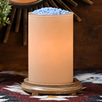 Candleglow Simmering Light with Wood Grain Base