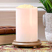Glossy White Simmering Light with Wood Grain Base