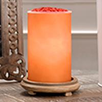Orange Simmering Light with Wood Grain Base