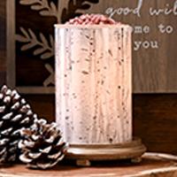 Aspen Tree Simmering Light with Wood Grain Base