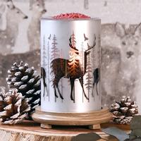 Deer Simmering Light with Wood Grain Base