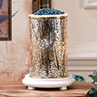 Gold Leaves Simmering Light with Antique White Base