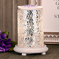 Silver Crackle Simmering Light with Antique White Base